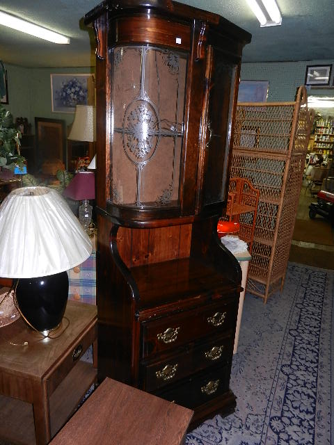 Bow Glass Corner Cabinet