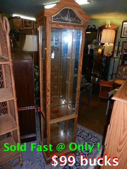 Oak Curio w-mirror and 2 lights