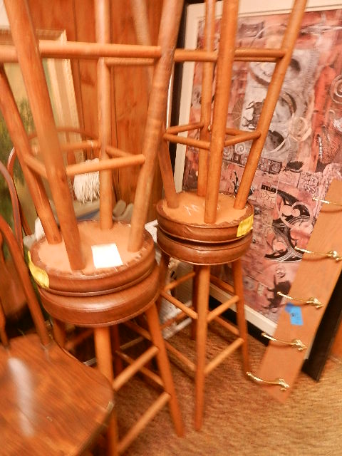 4 Brown Padded Stools